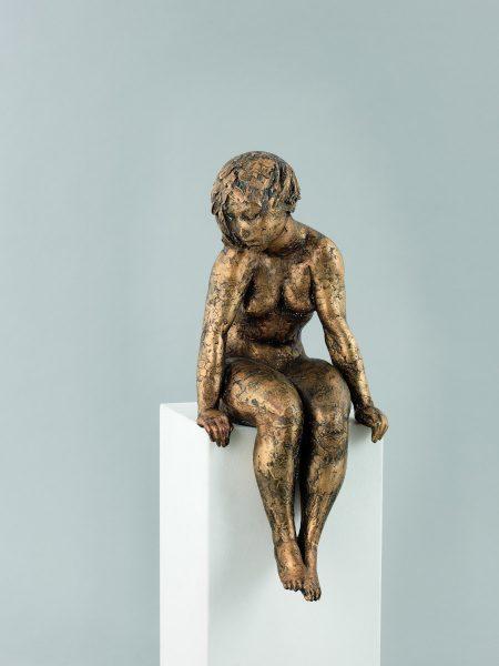 Inka zur Seite sehend, Aktskulptur, skulptur, Bronze